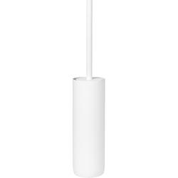 Biała szczotka do wc z pojemnikiem blomus modo stal pokryta tytanem b66265