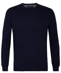 Granatowy sweter  pulower o-neck z bawełny pima  l