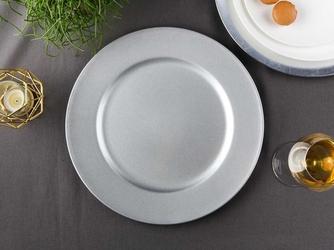 Podkładka pod talerz  na stół okrągła altom design srebrna z brokatem 33 cm