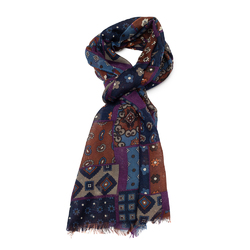 Elegancki fioletowy przejściowy szal we wzory