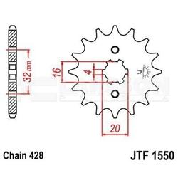 Zębatka przednia jt f1550-14, 14z, rozmiar 428 2201218 yamaha wr 125