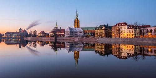 Ostrów tumski, wrocław - plakat premium wymiar do wyboru: 42x29,7 cm