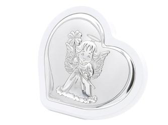 Obrazek aniołek na białym drewnie pamiatka chrztu grawer
