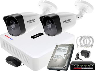 Zestaw monitoringu do firmy, domu hikvision hiwatch rejestrator ip hwn-2104 + 2x kamera fullhd hwi-b120 + akcesoria