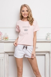 Aruelle Princess Queen Short Dots  Pink piżama damska