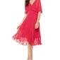 Elegancka kopertowa malinowa sukienka z plisowanym dołem