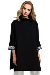 Długa damska bluza z golfem czarna m392