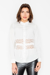 Ecru koszulowa bluzka z koronkowym panelem