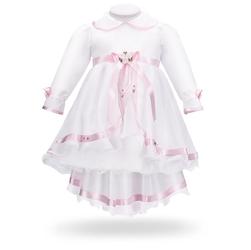 Sukienka na chrzest do chrztu biała z różowymi kwiatkami i kokardą