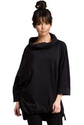 Czarna bluza oversize z szerokim rękawem 34 z kapturem