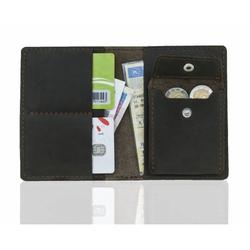Super cienki portfel na karty i monety slim wallet brodrene sw01+ ciemny brąz