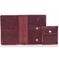 Skórzany cienki portfel slim wallet z bilonówką brodrene sw01+ czerwony - czerwony