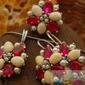 Srebrny komplet rubiny, perły i bursztyny adriano