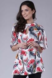 Elegancka bluzka z motylkowym rękawem z paskiem