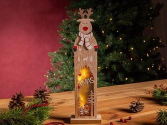 Figurka  ozdoba  dekoracja świąteczna drewniana led święta boże narodzenie altom design renifer 9,5 x 5 x 35,5 cm