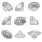 Obraz 9 diamenty ustawione na białym tle - clipping path