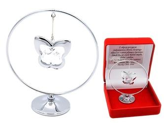 Posrebrzany motyl w kółku swarovski prezent chrzest dedykacja