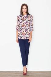 Koszula na stójce we wzory odcienie brązu i fioletu