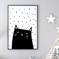Kitty art - plakat dla dzieci , wymiary - 50cm x 70cm, kolor ramki - biały