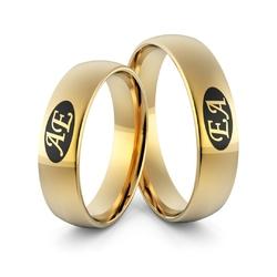 Obrączki ślubne z inicjałami i emalią - Au-977