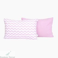 Poduszka dekoracyjna 60x40 - zygzaki - różowo - białe