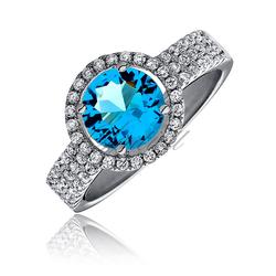 Piękny srebrny pierścionek pr.925 Cyrkonia aquamarynowa