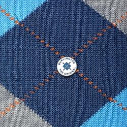 Stylowe niebieskie bawełniane skarpety burlington manchester we wzór argyle rozmiar 40-46