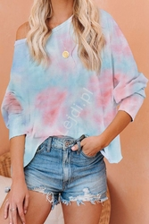 Bluzka tie dye turkusowo różowa 004