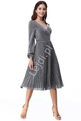 Plisowana srebrna sukienka z lureksu mieniącymi się opiłkami 2410