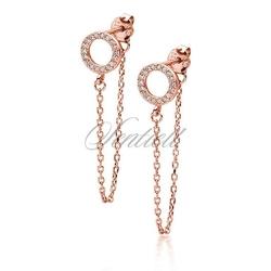 Srebrne 925 kolczyki pozłacane różowym złotem - kółeczko z cyrkoniami i łańcuszkiem - różowe złoto