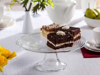 Patera na ciasto i tort  talerz szklany na nóżce edwanex spirala 27,5 cm