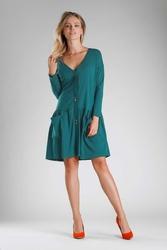 Zielona Luźna Sukienka Zapinana na Guziki
