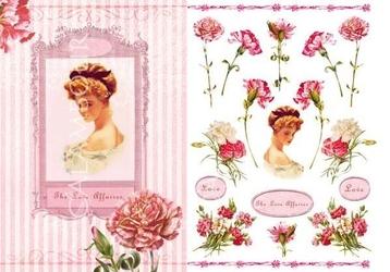Papier ryżowy Calambour 33x48 cm kobieta kwiaty