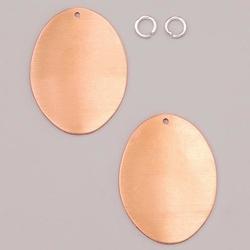 Metalowa zawieszka Efcolor - owal 41x31 mm - 2 szt - OW31