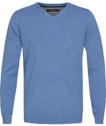 Błękitny sweter  pulower v-neck z bawełny  l
