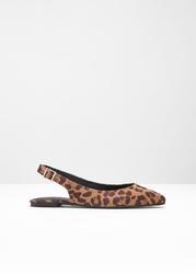 Baleriny z paskiem na pięcie bonprix brązowo-czarny w cętki leoparda