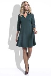 Zielona Sukienka Wizytowa Lekko Rozszerzana z Rękawem 34