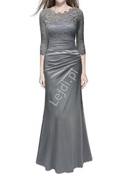 Elegancka sukienka z koronkową górą - szara wioletta