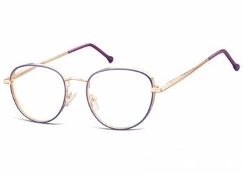 Owalne okulary oprawki optyczne 918a złoto-fioletowe