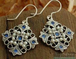 Panama srebrne kolczyki z szafirami i perłami