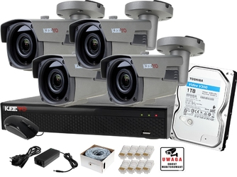 Monitoring zestaw ip keeyo 1tb h265+ full hd ir 60m 4 kamery