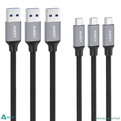 Aukey cb-cmd1 zestaw 3 szt. nylonowych szybkich kabli quick charge usb c-usb 3.0   3 x 1m   5 gbps