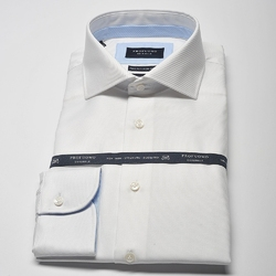 Elegancka biała koszula męska taliowana slim fit z błękitnymi wstawkami 42