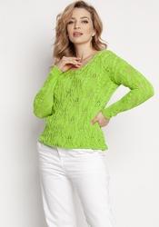 Kobiecy ażurowy sweter - zielony