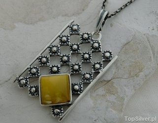 Lebia - srebrny wisiorek z bursztynem