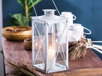 Latarenka  latarnia lampion ozdobny wiszący metalowy altom design kwadratowa biała 34,5 cm