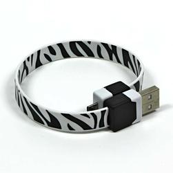 Kabel USB 2.0, USB A  M- USB micro M, 0.25m, czarno-biały, Logo, blistr, na nadgarstek