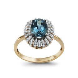 Staviori Pierścionek. 66 Diamentów, szlif achtkant, masa 0,17 ct., barwa H, czystość I1-I2. 1 Topaz błękitny, masa 1,25 ct.. Żółte Złoto 0,585. Wymiary 12 x 11 mm.