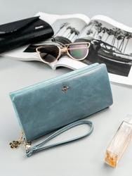 Duży portfel damski niebieski milano design - niebieski