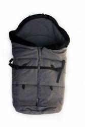 Śpiworek polarowy z futerkiem ciemnoszary - przedłużany do 110 cm, kutnik